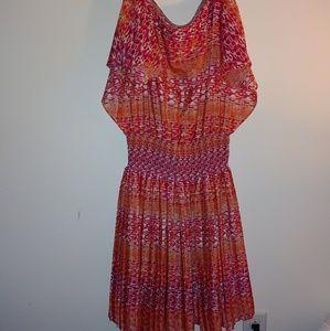 Cold shoulder colorful dress